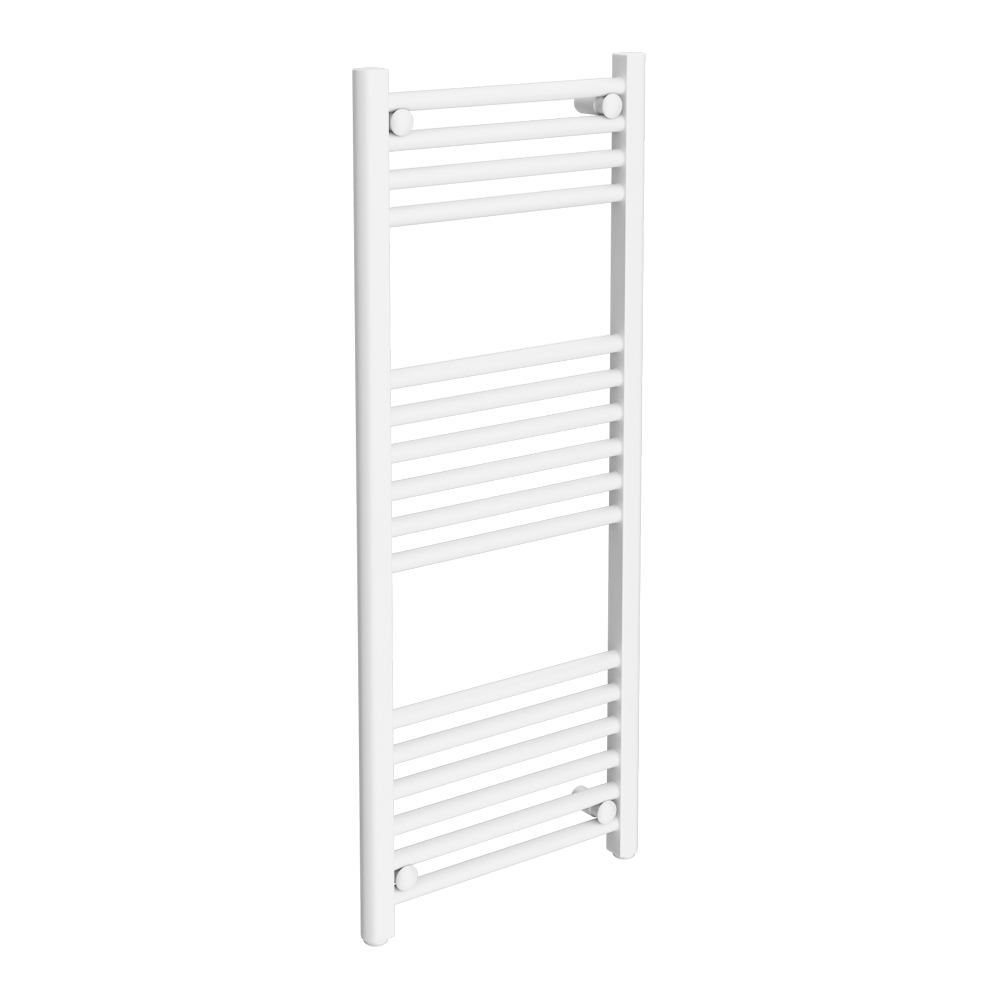 Diamond Heated Towel Rail - W400 x H1000mm - White - Straight Large Image