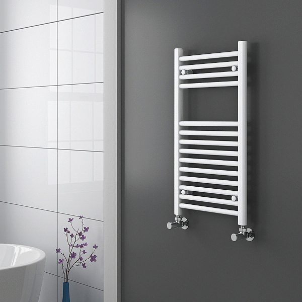 Diamond Heated Towel Rail - W300 x H800mm - White - Straight profile large image view 2