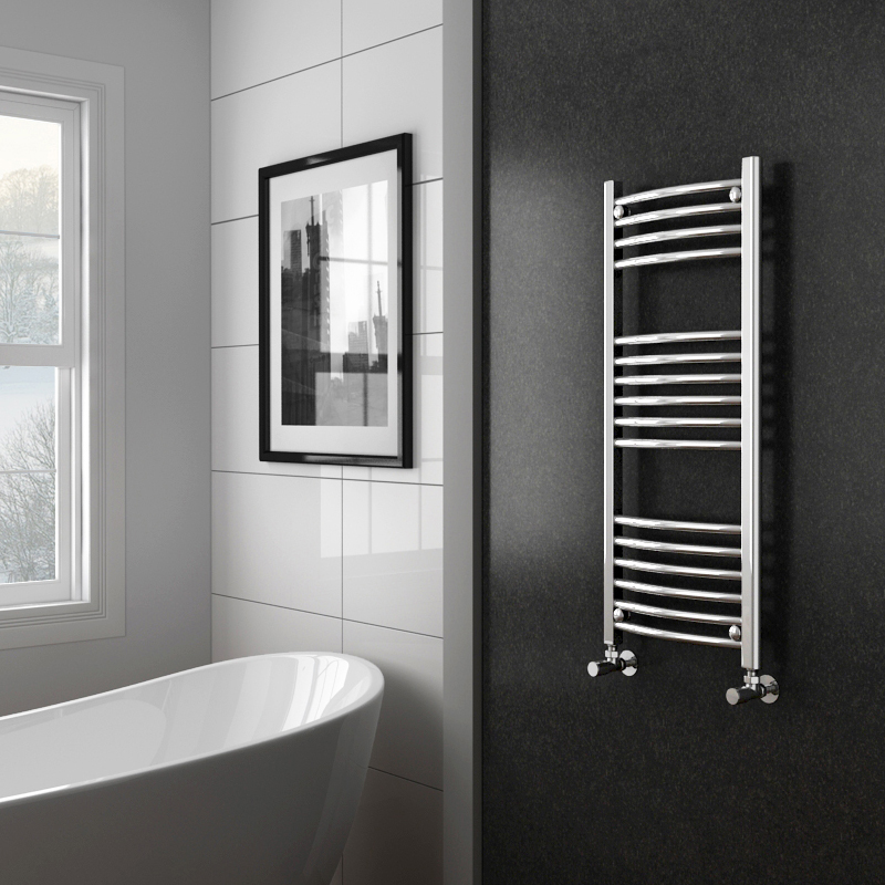 Diamond Curved Heated Towel Rail - W400 x H1000mm - Chrome Profile Large Image