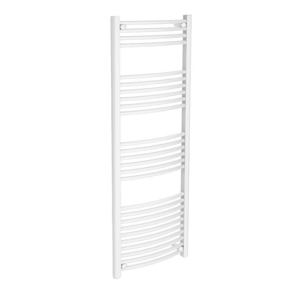 Diamond Curved Heated Towel Rail - W600 x H1600mm - White Large Image