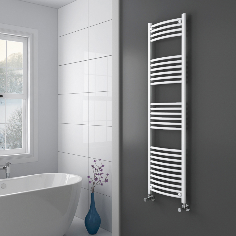 Diamond Curved Heated Towel Rail - W600 x H1600mm - White  Profile Large Image