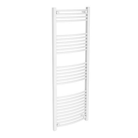 Diamond Curved Heated Towel Rail - W600 x H1600mm - White