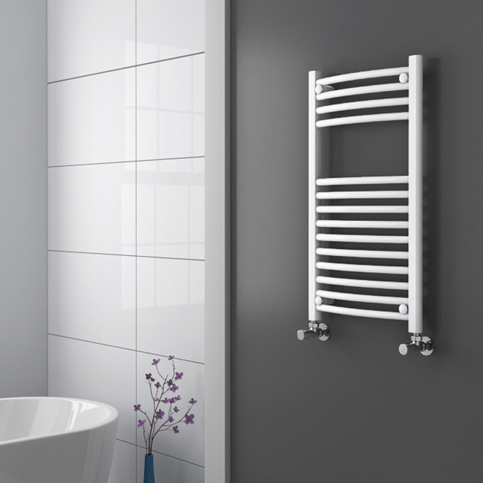 Diamond Curved Heated Towel Rail - W600 x H800mm - White Profile Large Image