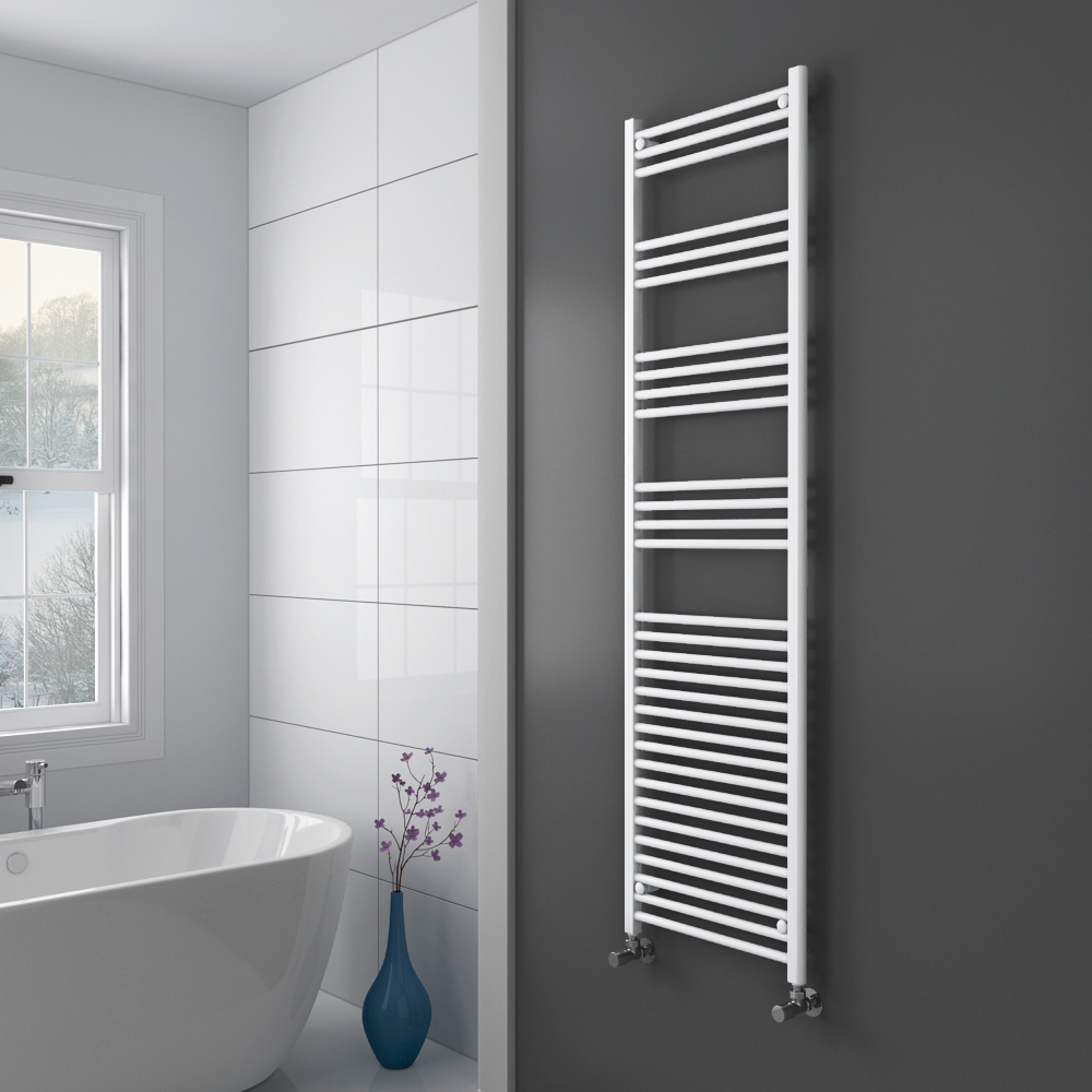Diamond Heated Towel Rail - W500 x H1800mm - White - Straight Profile Large Image