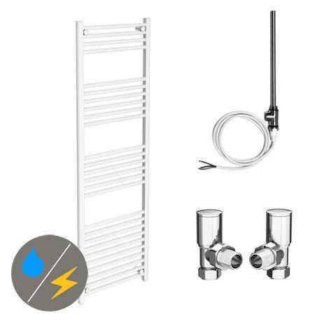 Diamond White 500 x 1600mm Straight Heated Towel Rail (Inc. Valves + Electric Heating Kit)