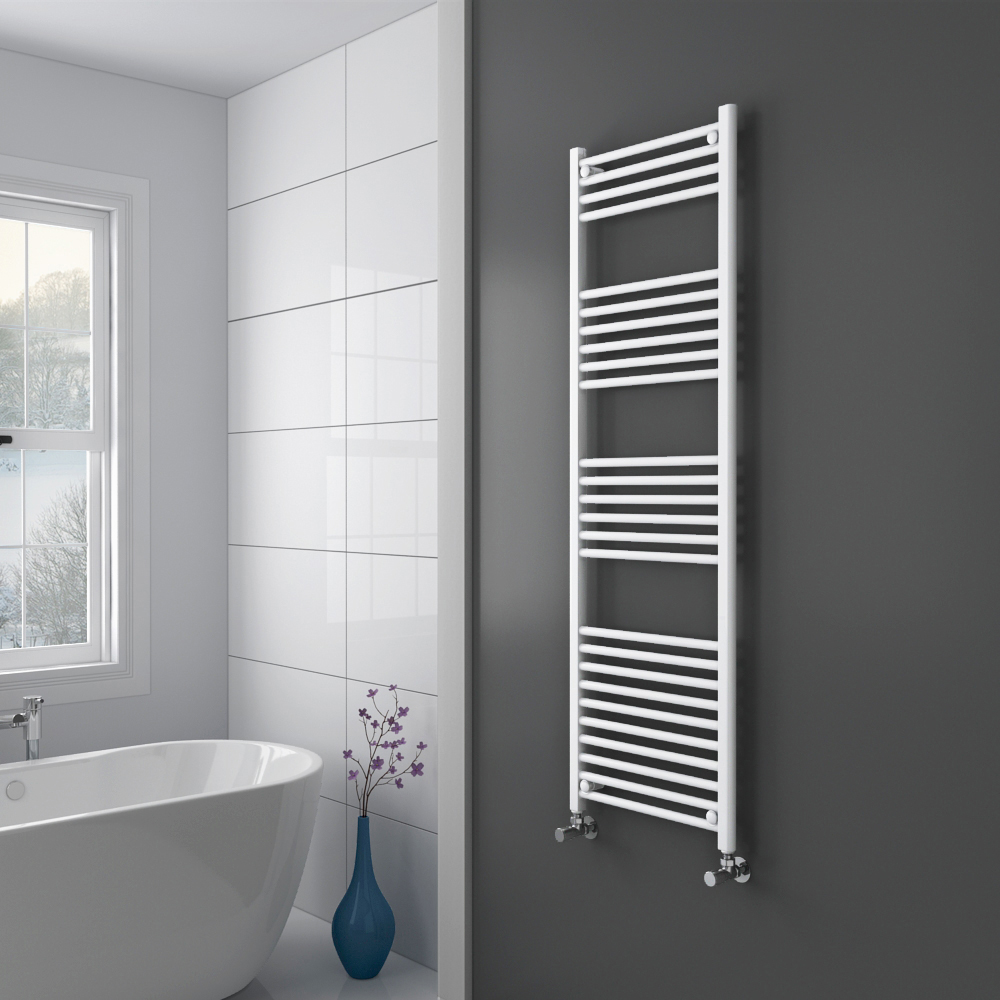 Diamond Heated Towel Rail - W500 x H1600mm - White - Straight Profile Large Image