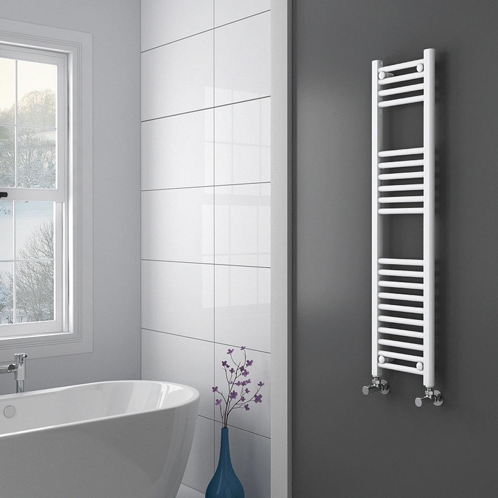 Diamond Heated Towel Rail - W300 x H1200mm - White - Straight profile large image view 2