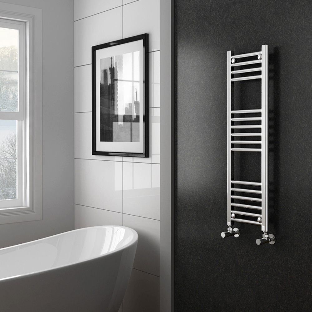 Diamond Heated Towel Rail - W300 x H1000mm - Chrome - Straight Profile Large Image