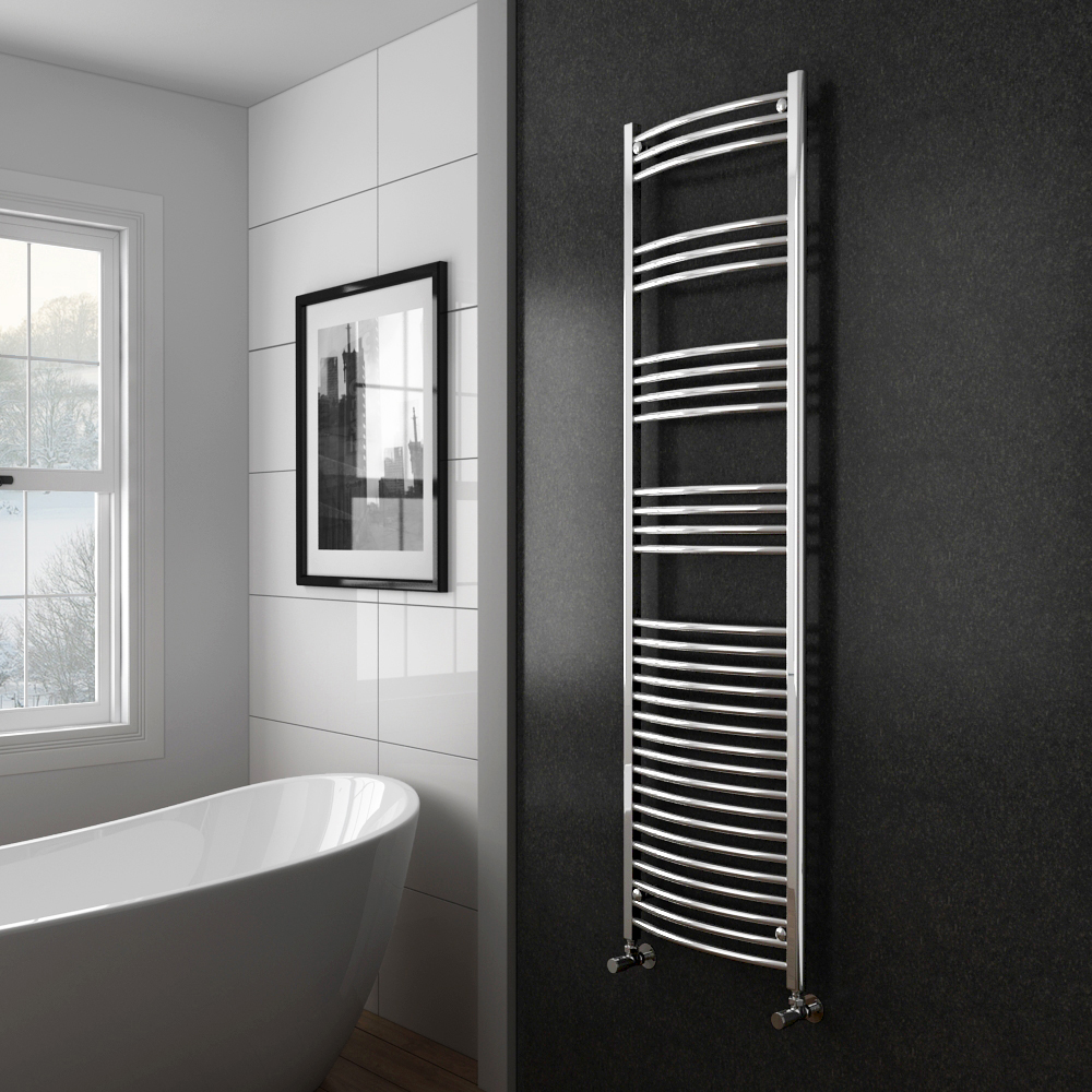 Diamond Curved Heated Towel Rail - W500 x H1800mm - Chrome Profile Large Image