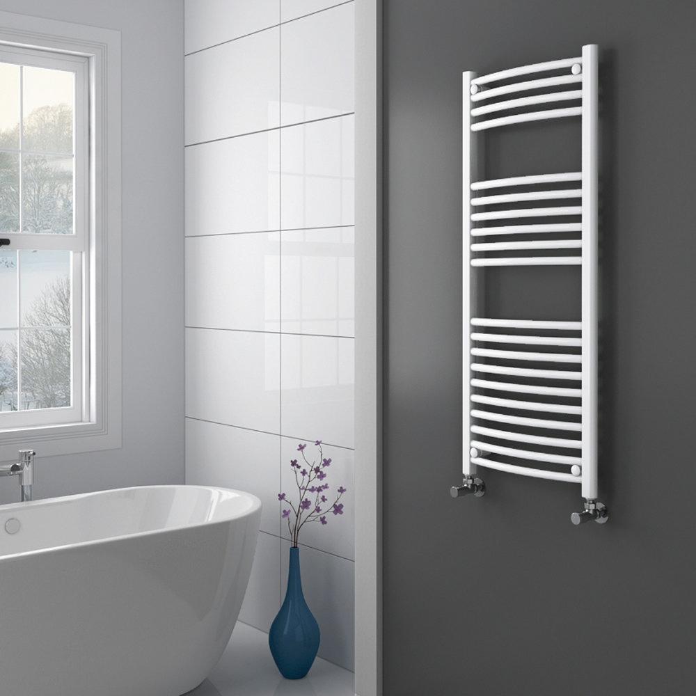 Diamond Curved Heated Towel Rail - W500 x H1200mm - White Profile Large Image