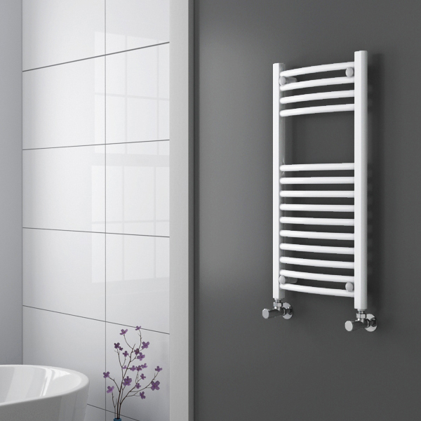 Diamond Curved Heated Towel Rail - W400 x H800mm - White Profile Large Image
