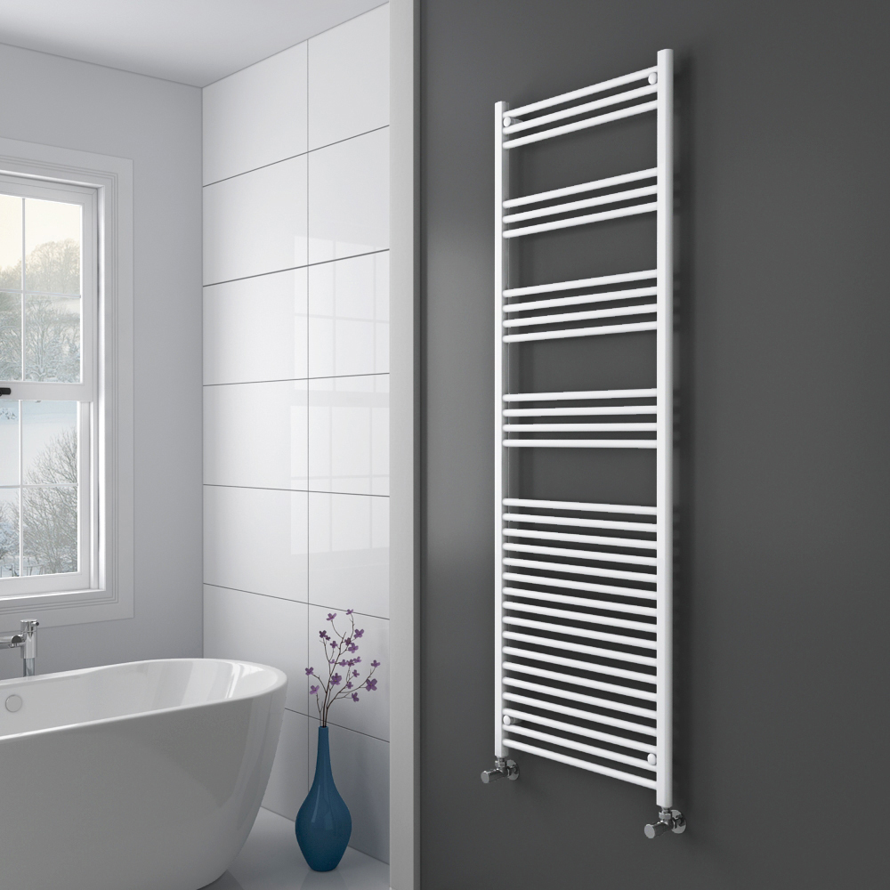 Diamond Heated Towel Rail - W600 x H1800mm - White - Straight Profile Large Image
