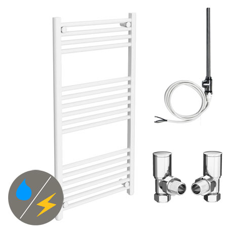 Diamond White 500 x 1000mm Straight Heated Towel Rail (Inc. Valves + Electric Heating Kit)