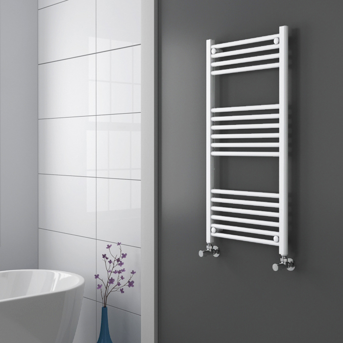 Diamond Heated Towel Rail - W500 x H1000mm - White - Straight profile large image view 2
