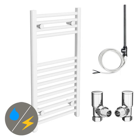 Diamond White 400 x 800mm Straight Heated Towel Rail (Inc. Valves + Electric Heating Kit)