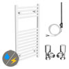 Diamond White 400 x 800mm Straight Heated Towel Rail (Inc. Valves + Electric Heating Kit) profile small image view 1