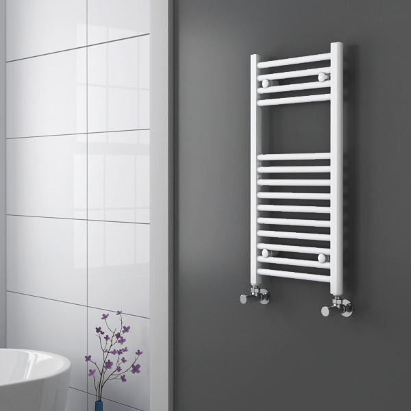 Diamond Heated Towel Rail - W400 x H800mm - White - Straight profile large image view 2