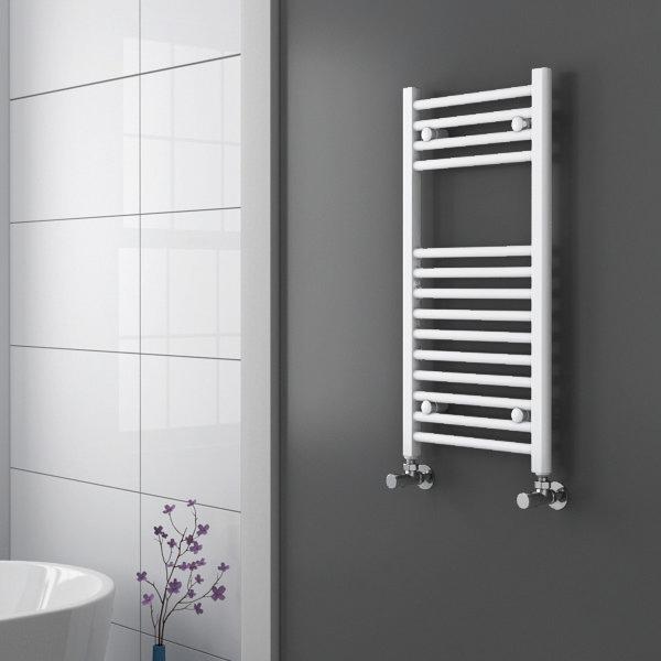 Diamond Heated Towel Rail - W400 x H800mm - White - Straight Profile Large Image