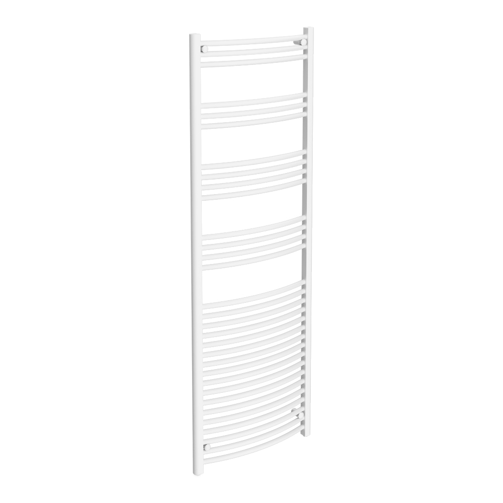 Diamond Curved Heated Towel Rail - W600 x H1800mm - White Large Image