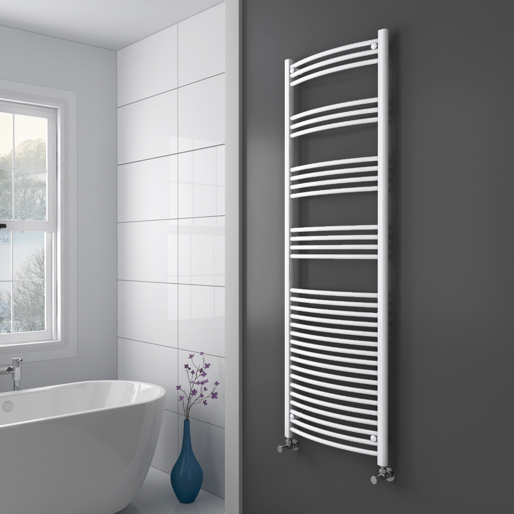 Diamond Curved Heated Towel Rail - W600 x H1800mm - White Profile Large Image