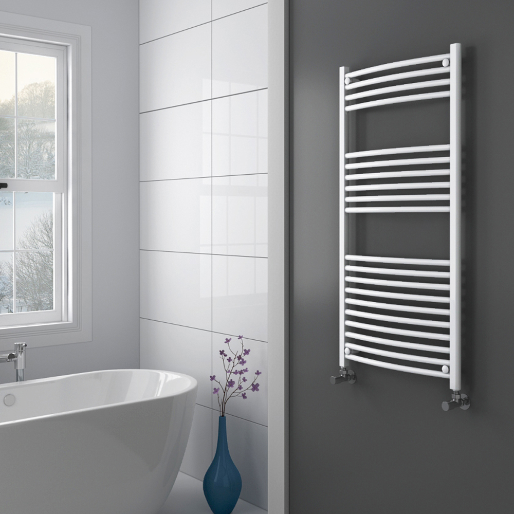 Diamond Curved Heated Towel Rail - W600 x H1200mm - White Profile Large Image