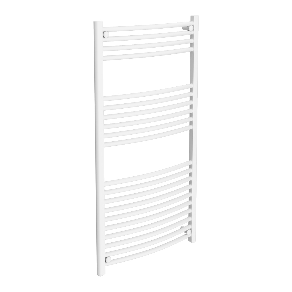 Diamond Curved Heated Towel Rail - W600 x H1200mm - White Large Image