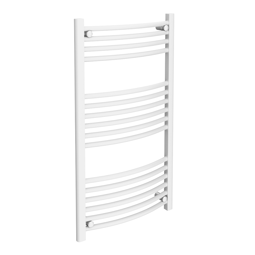 Diamond Curved Heated Towel Rail - W600 x H1000mm - White