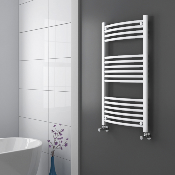 Diamond Curved Heated Towel Rail - W600 x H1000mm - White profile large image view 2