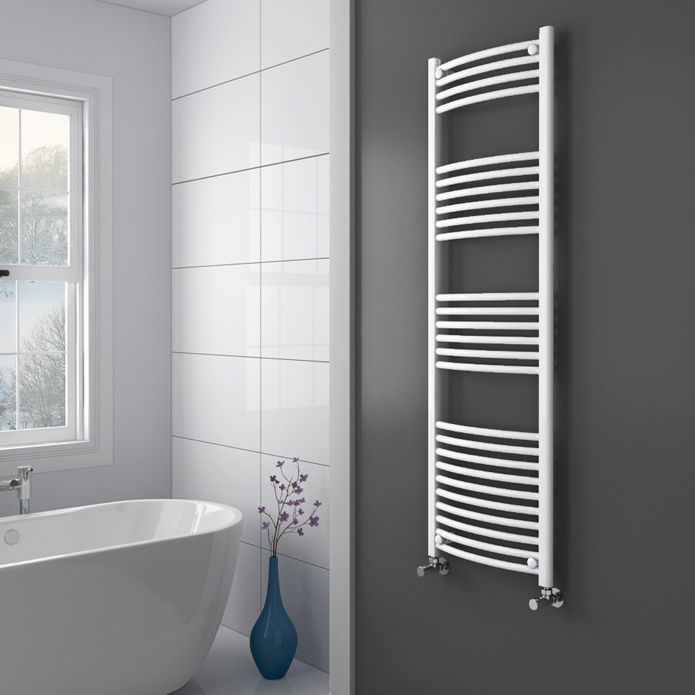 Diamond Curved Heated Towel Rail - W500 x H1600mm - White Profile Large Image