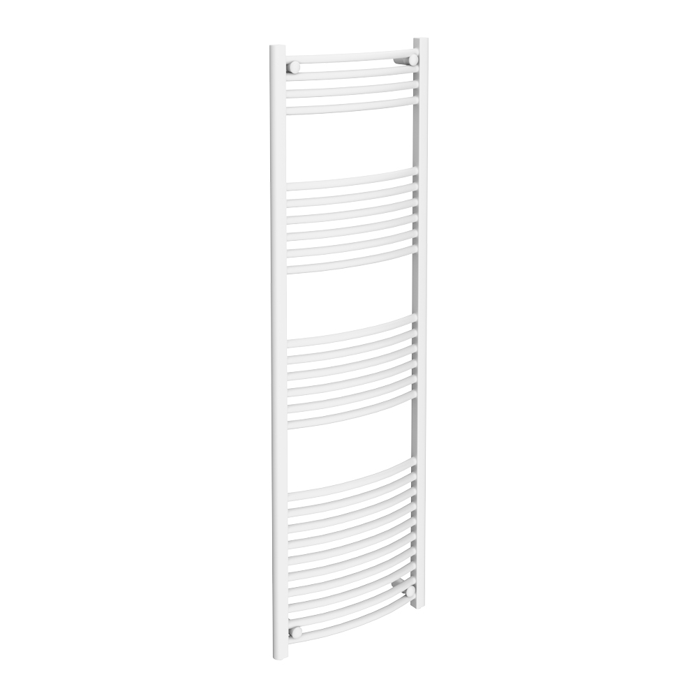 Diamond Curved Heated Towel Rail - W500 x H1600mm - White Large Image