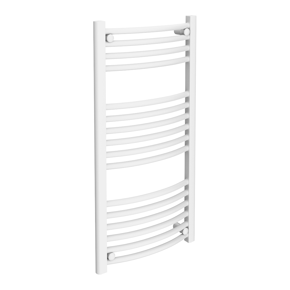Diamond Curved Heated Towel Rail - W500 x H1000mm - White profile large image view 1