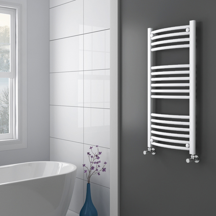 Diamond Curved Heated Towel Rail - W500 x H1000mm - White profile large image view 2
