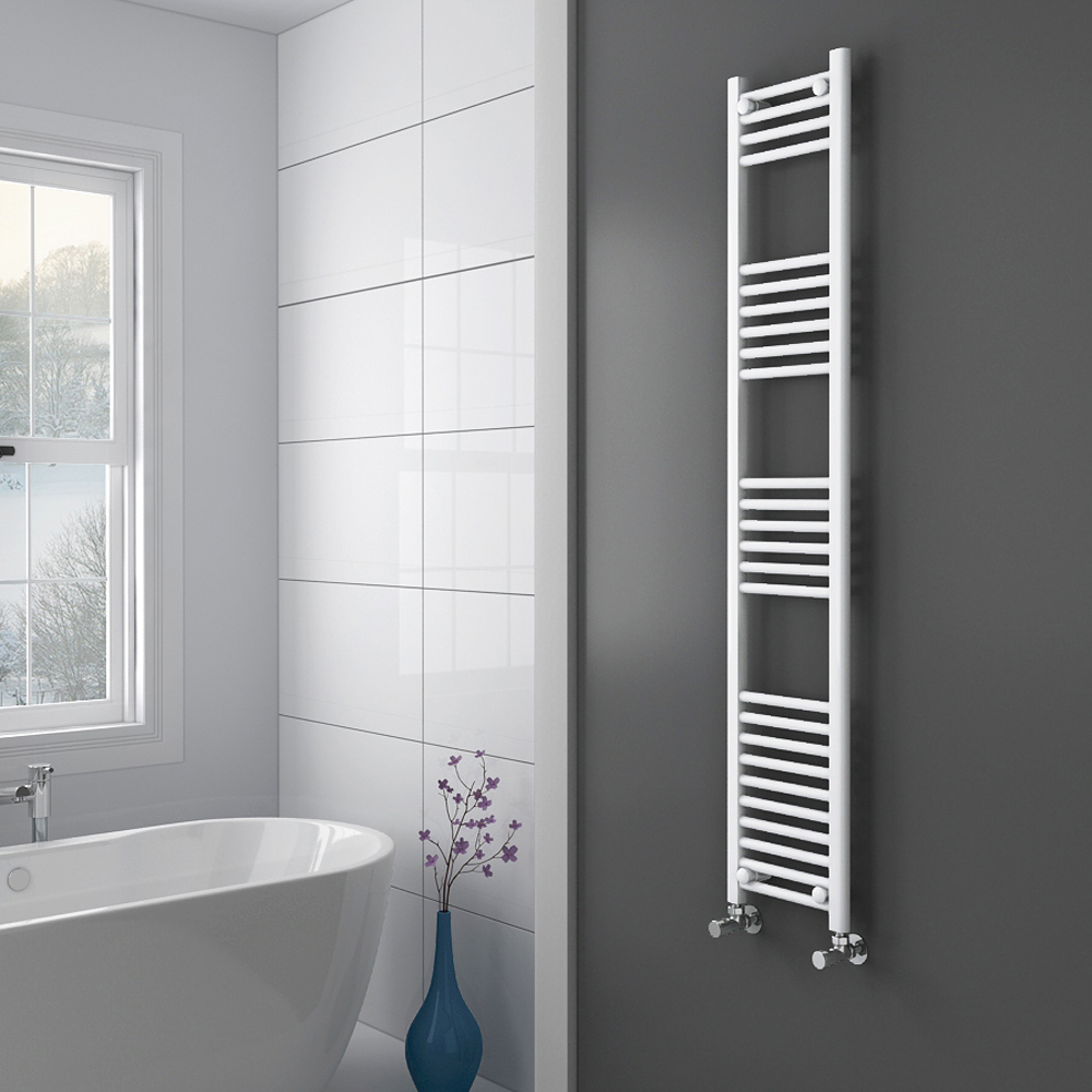 Diamond Heated Towel Rail - W300 x H1600mm - White - Straight profile large image view 2