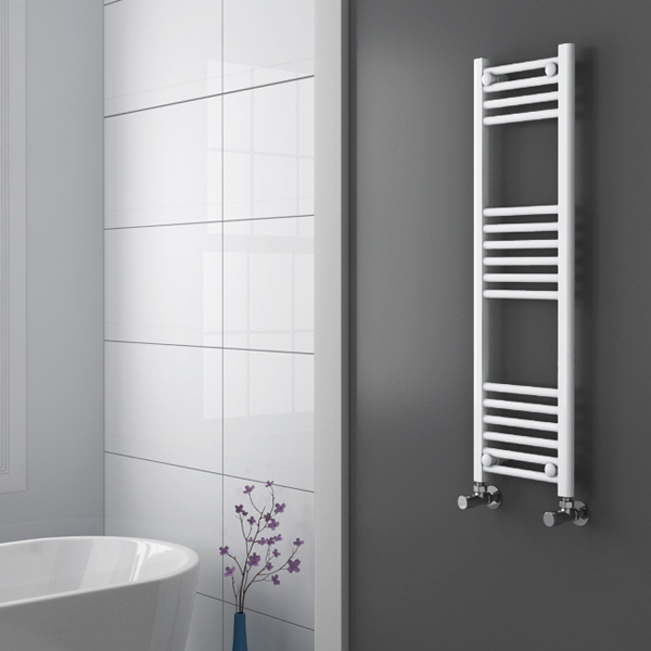 Diamond Heated Towel Rail - W300 x H1000mm - White - Straight Profile Large Image