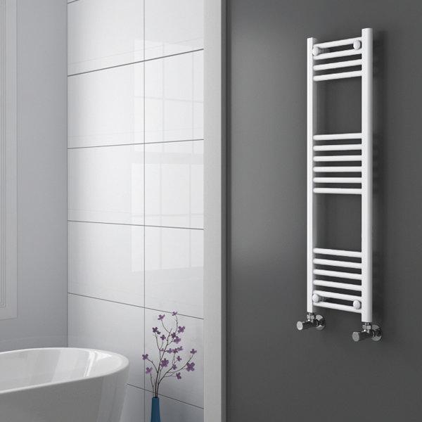 Diamond Heated Towel Rail - W300 x H1000mm - White - Straight profile large image view 2