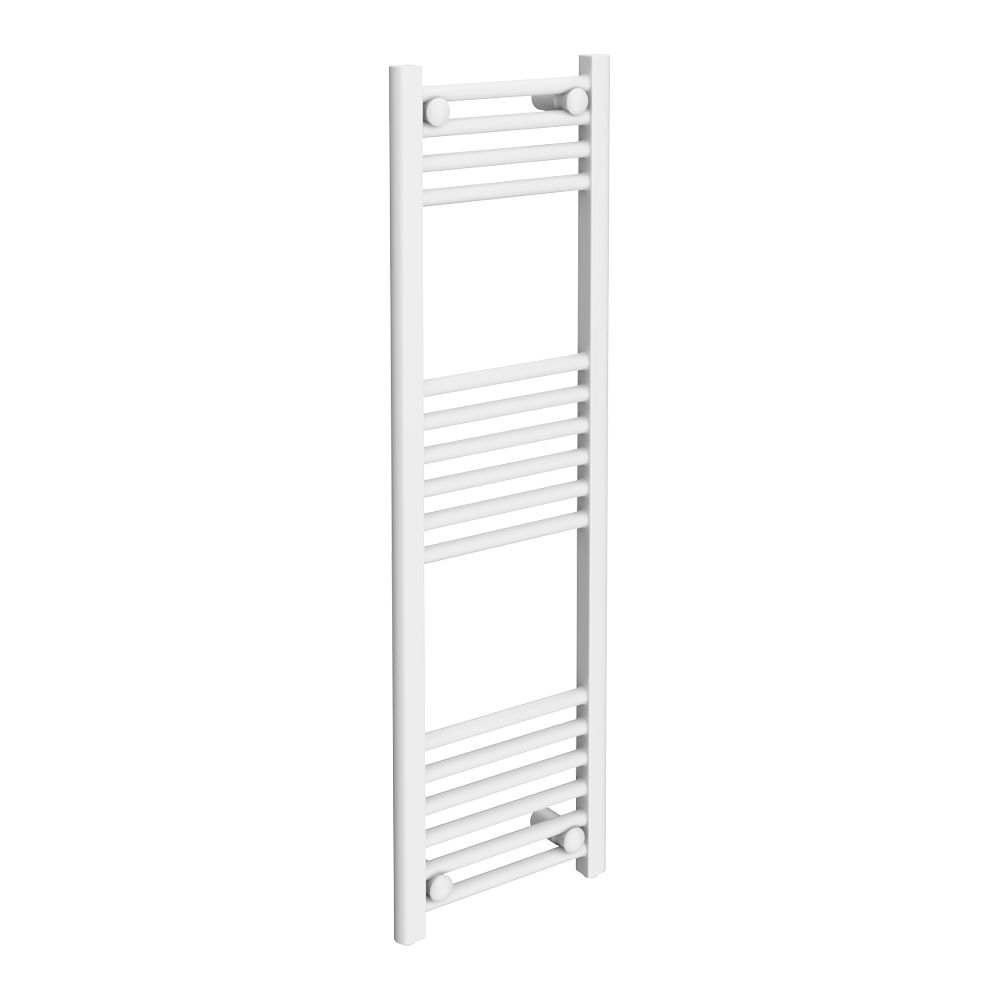 Diamond Heated Towel Rail - W300 x H1000mm - White - Straight Large Image