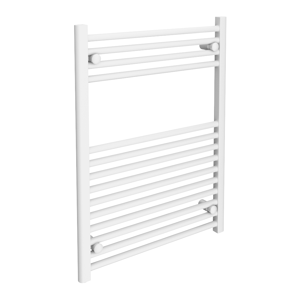 Diamond Heated Towel Rail - W600 x H800mm - White - Straight Large Image