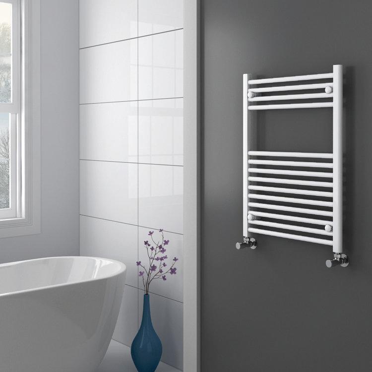 Diamond Heated Towel Rail - W600 x H800mm - White - Straight profile large image view 2