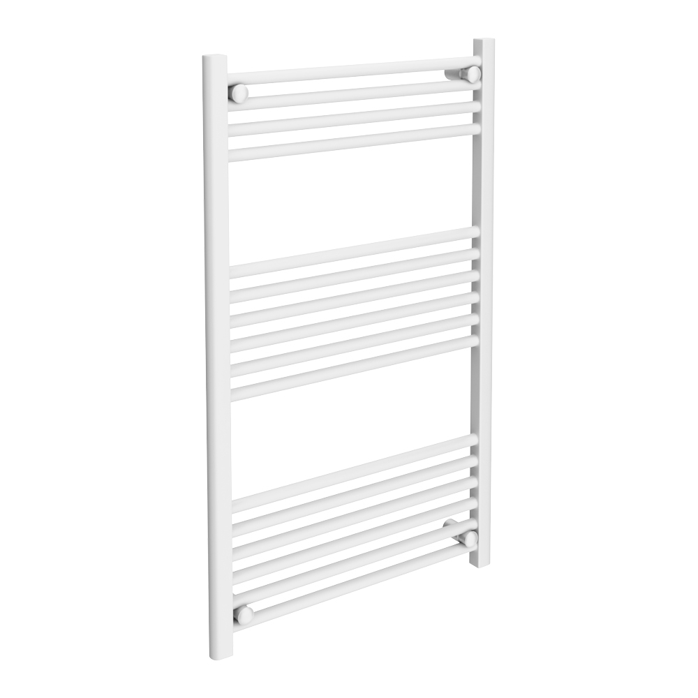 Diamond Heated Towel Rail - W600 x H1000mm - White - Straight Large Image