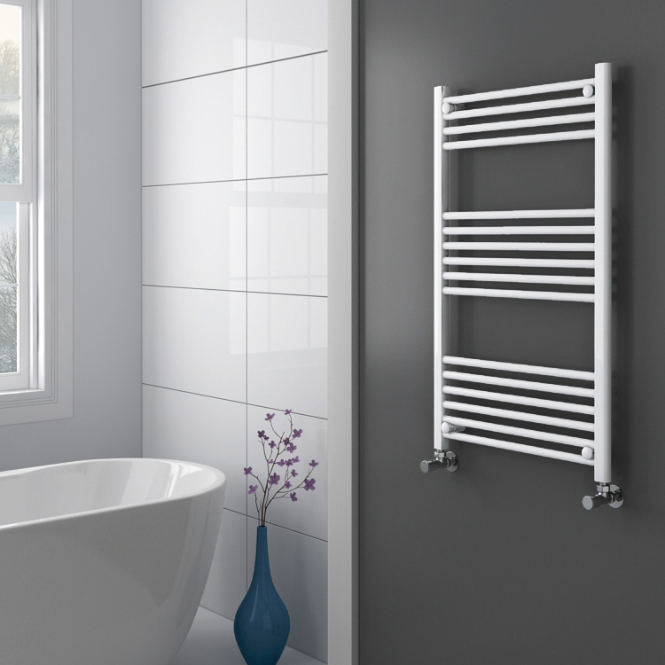 Diamond Heated Towel Rail - W600 x H1000mm - White - Straight profile large image view 2