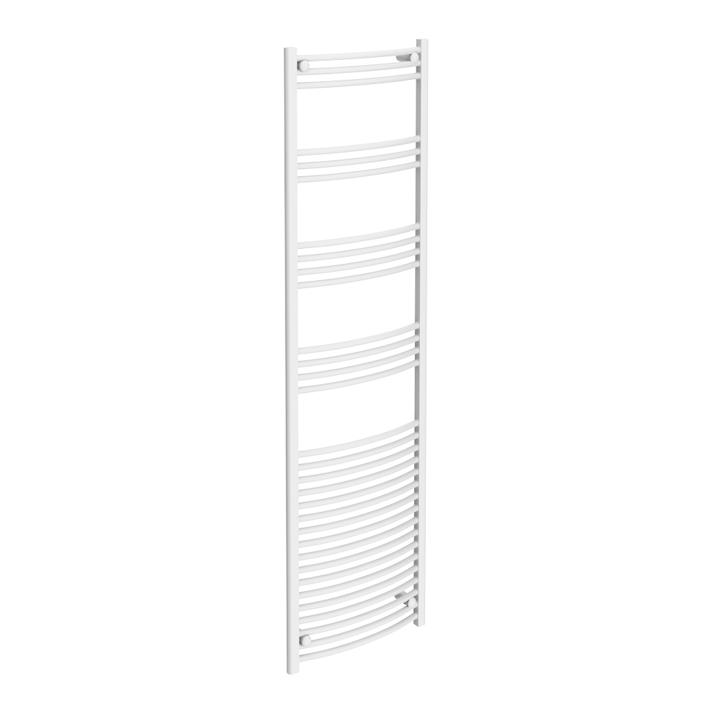 Diamond Curved Heated Towel Rail - W500 x H1800mm - White Large Image
