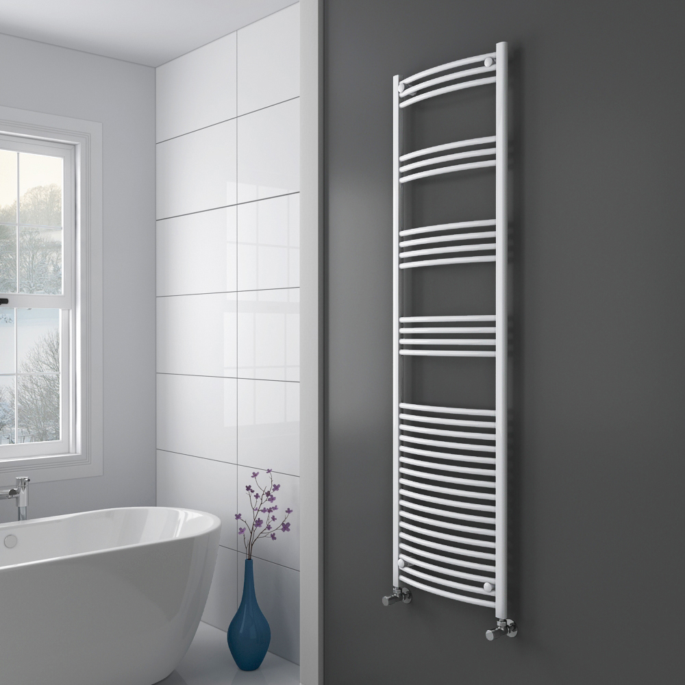 Diamond Curved Heated Towel Rail - W500 x H1800mm - White Profile Large Image