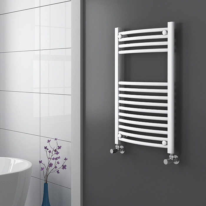 Diamond Curved Heated Towel Rail - W500 x H800mm - White Profile Large Image