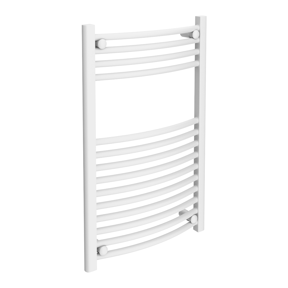 Diamond Curved Heated Towel Rail - W500 x H800mm - White Large Image