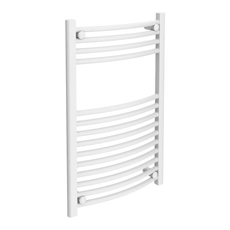 Diamond Curved Heated Towel Rail - W500 x H800mm - White