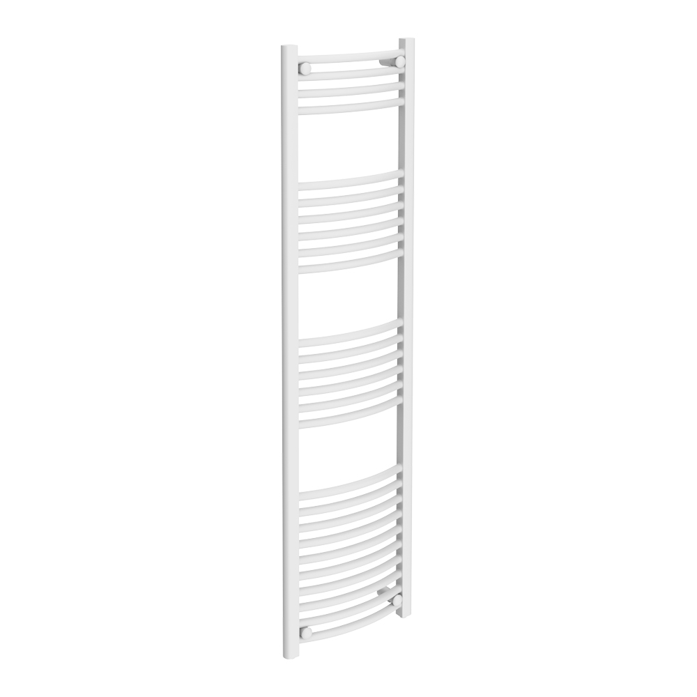 Diamond Curved Heated Towel Rail - W400 x H1600mm - White Large Image