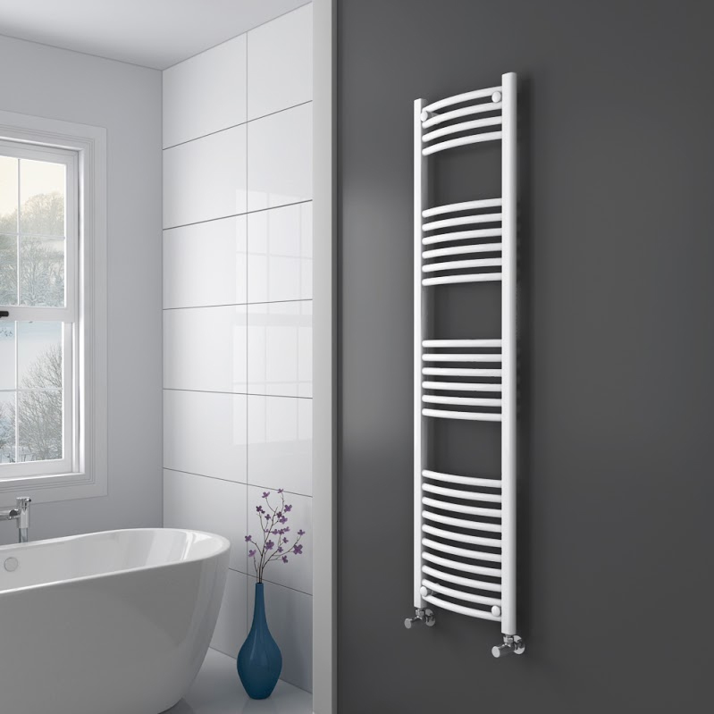 Diamond Curved Heated Towel Rail - W400 x H1600mm - White profile large image view 2