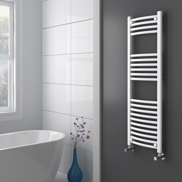 Diamond Curved Heated Towel Rail - W400 x H1200mm - White profile large image view 2