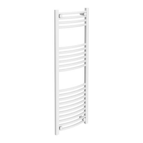 Diamond Curved Heated Towel Rail - W400 x H1200mm - White