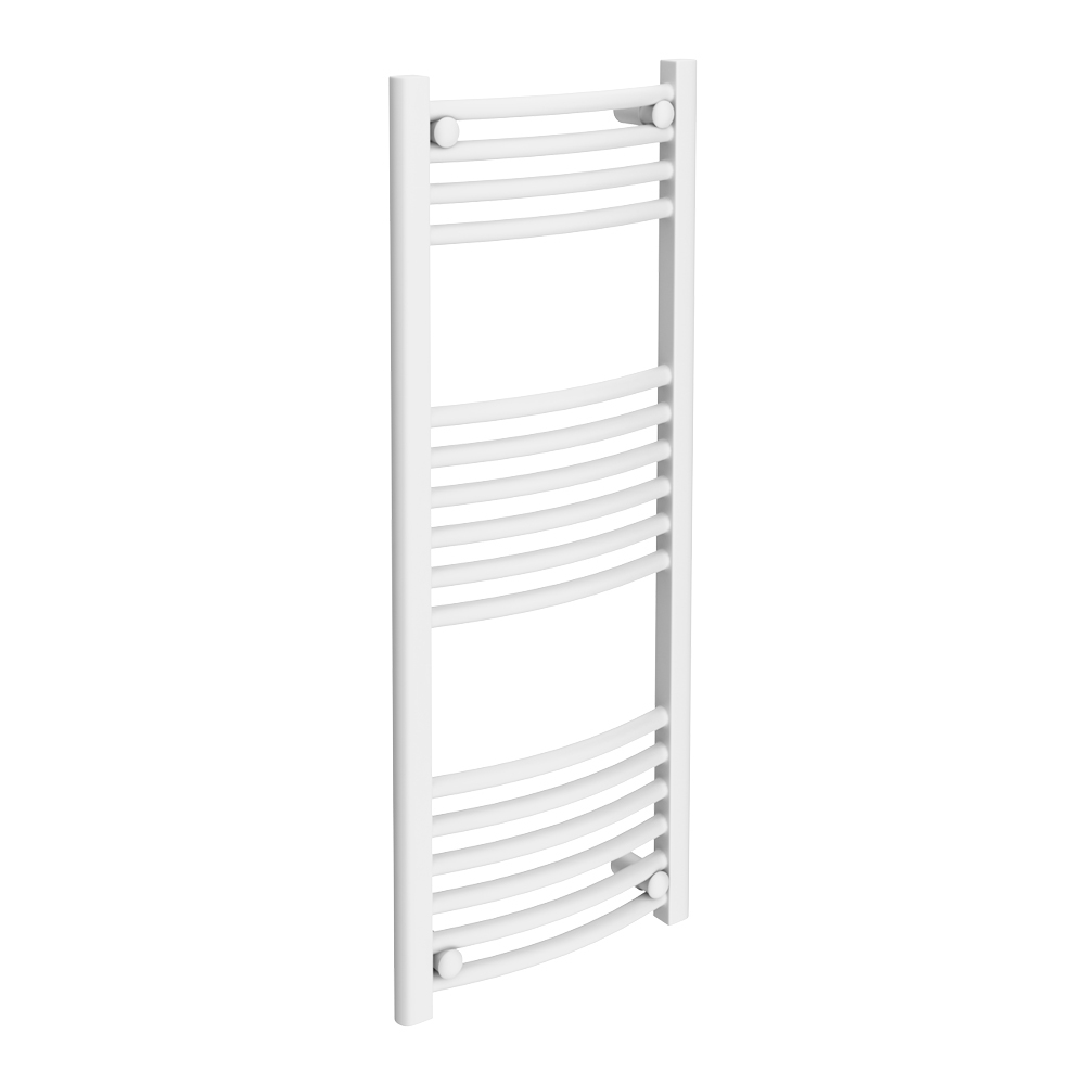 Diamond Curved Heated Towel Rail - W400 x H1000mm - White Large Image